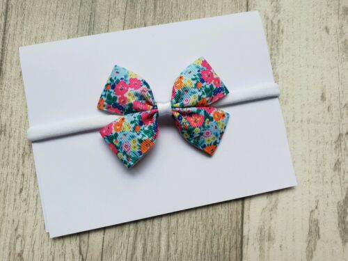 Bright Floral Flower Elastic Headband Hair Bow Made To Match Next Dress