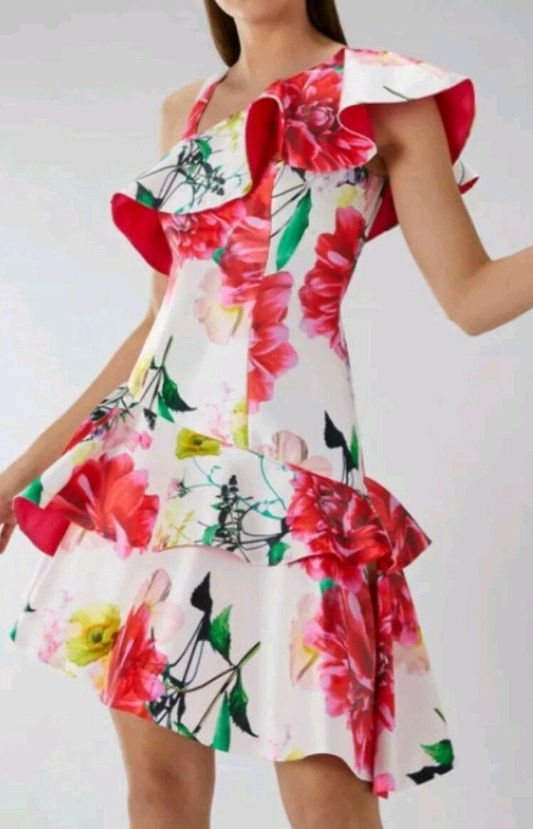 LADIES COAST DENISE MIDI FLORAL FITTED & FRILL DRESS 12 NEW BNWT Races Wedding