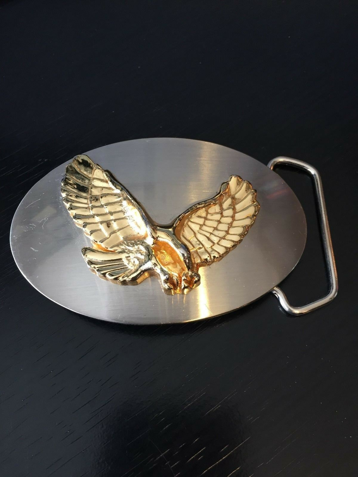 Eagle Affixed to Body Belt Buckle Two Tone Nice Heavy