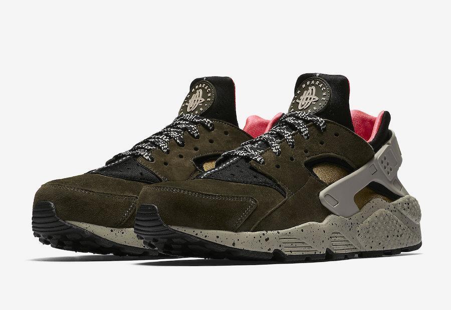 Nike Air huarache Run / Premium 704830 010 negro / Run Sequoia Verde / solar Rojo / gris / Moss d6f7d9