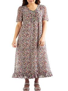 Ladies-Floral-Chiffon-Dress-Plus-Size-24-26-28-30-Beige-lined-short-sleeve-221