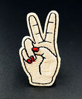 Peace Victory Gesture Embroidered Iron On Sew On Patches Badges Transfers Patch