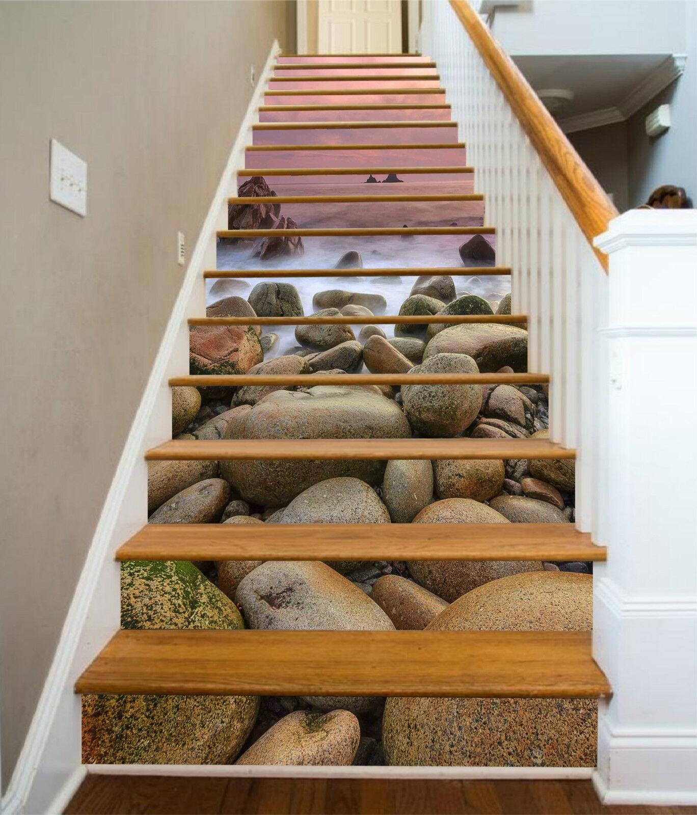 3D Meer Steine 0033 Stair Risers Dekoration Fototapete Vinyl Aufkleber Tapete DE