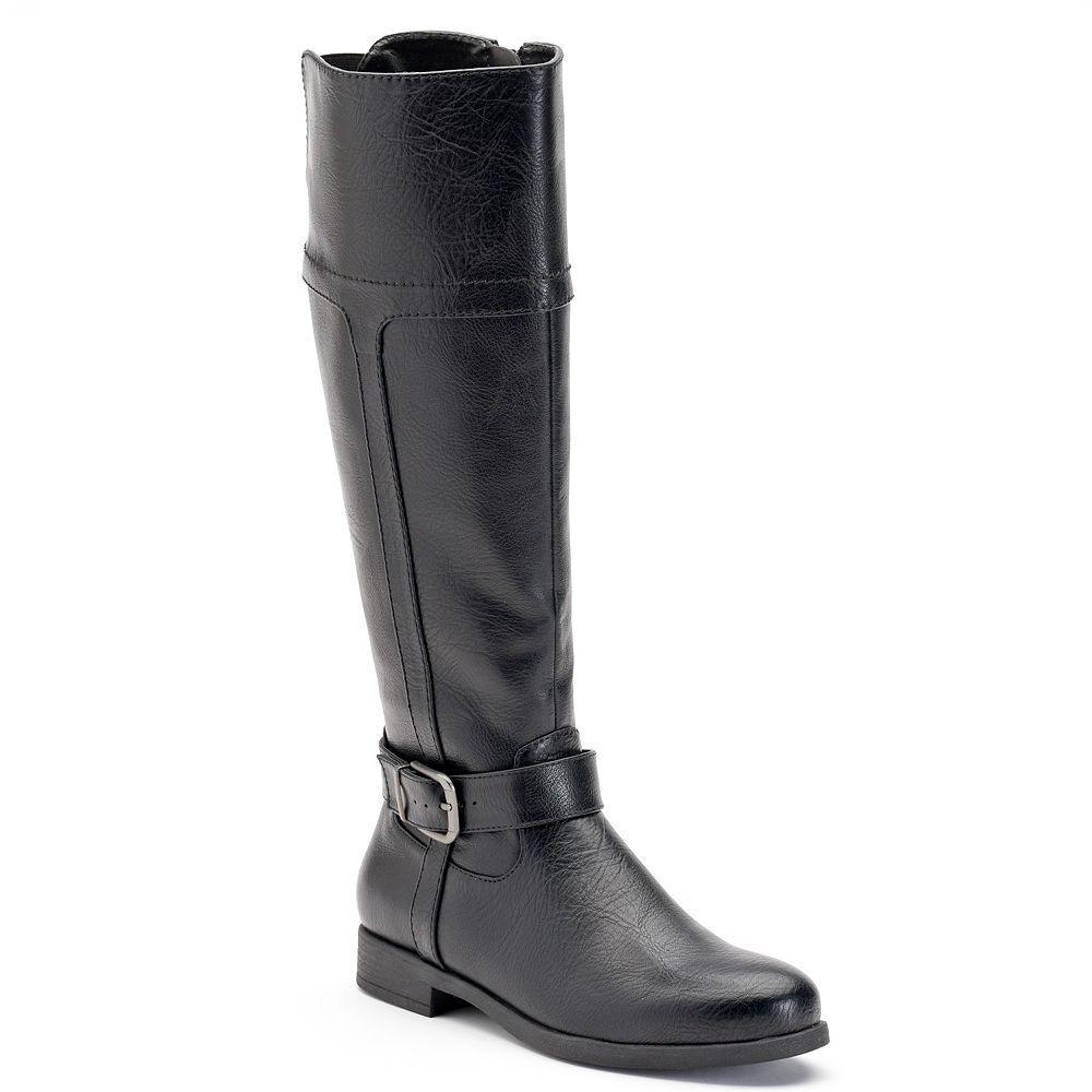 Damenschuhe CROFT & BARROW Wide Calf Tall Riding Stiefel Knee High  BLACK  8 WIDE WIDTH
