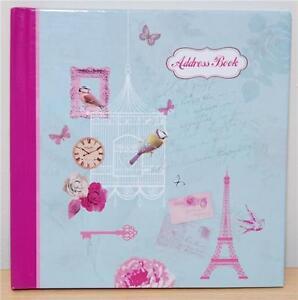 Girls-Vintage-Shabby-Chic-Address-Contacts-Book-Handbag-Size-Hardback-Cover