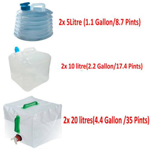 2x 5l//10////20L Camping Water Carrier Container Foldable Collapsible With Tap