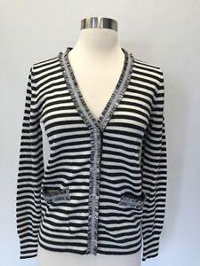 Ny Med 89 Sz Tweed Sweater Cardigan Stripet G9828 Xs Trim Harlow Jcrew fwnqfrX6