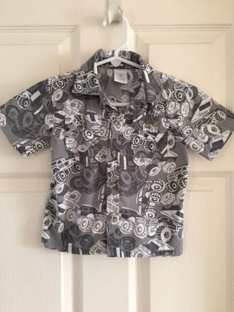 Boy's Hawaiian Shirt Short Sleeved by Wonderkids 24 Months Monster Truck Gray