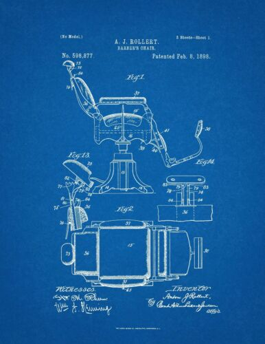 UNFRAMED ROLLERT 1898 UNITED STATES PATENT OFFICE PRINT BARBER CHAIR A.J
