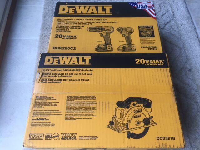 DEWALT 20 VOLT DCK280C2 COMBO KIT DRILL  DRIVER & DCS391B BARE TOOL CIRCULAR SAW