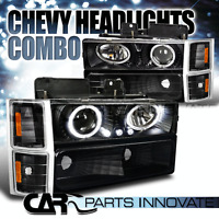 94-98 Chevy C10 C/K Tahoe Black Halo Projector Headlights w/ Bumper Corner Lamps