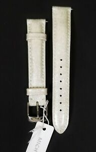 NEW MICHELE 16MM PEARL SILVER PATENT GLITTER LEATHER WATCH BAND MS16AA050040