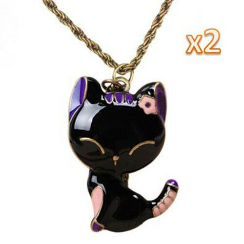 Vintage Glazed Lady Cat Pendant Long Chain Necklace-Black Pink/&PB4I5 2Pcs Pack