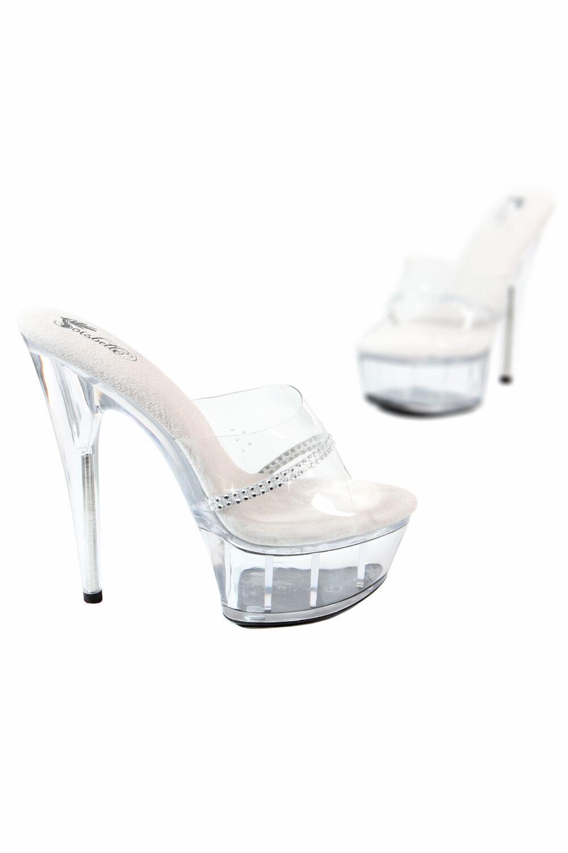 SB495 Sandale Strass da Cubista Tacco 15 cm e Plateau 5cm Trasparente Lap Dance