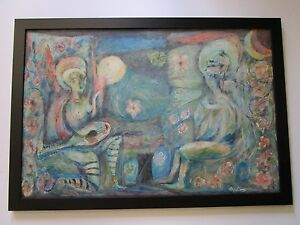 MYSTERY-ARTIST-LARGE-PAINTING-ABSTRACT-EXPRESSIONISM-FIGURES-MUSICIAN-MODERNISM