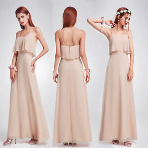 Details About Ever Pretty Us Chiffon Backless Evening Gown Blush Bridesmaid Dresses Long 07131