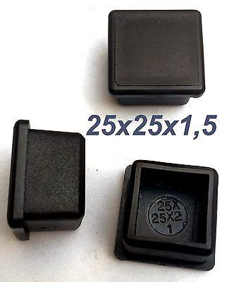 50 x Fußkappen 25x25x1,5mm  Rohr Vierkant stopfen Endkappen Schwarz Kappen Neu