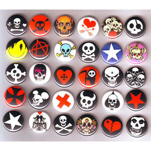 Punk-Emo-Skulls-BADGES-Lot-x-30-2-Buttons-Pinbacks-25mm-One-Inch-1-034