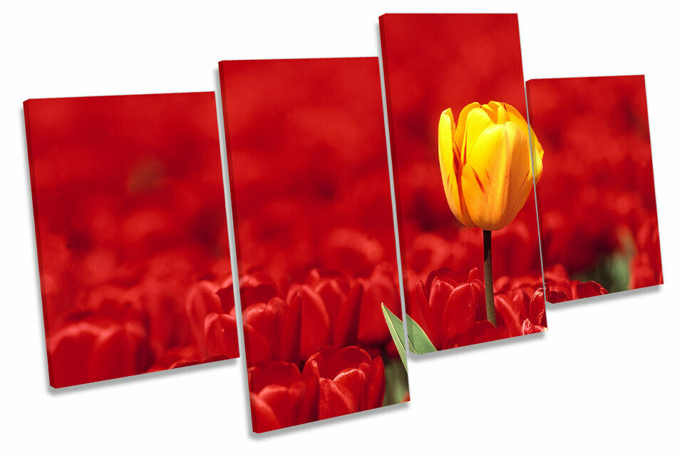 rot Tulips Flowers Gelb MULTI CANVAS WALL ART Picture Print
