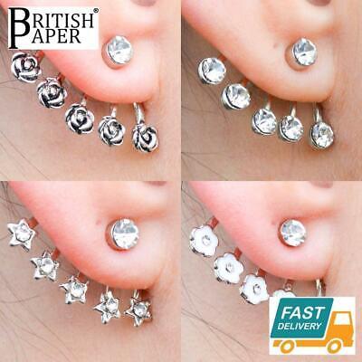 Oreja dobladillo pendientes clip en la Estrella de Plata No Piercing Joyería vendedor del Reino Unido