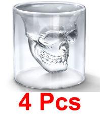 4 Pcs Crystal Skull Doomed Shot Glasses for Tequila, Vodka Bar Accessory (IG15B)