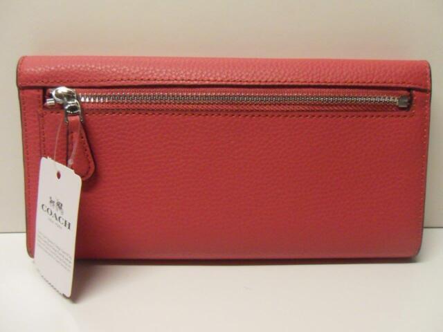 398c89847c5a0b Coach F16613 16613 BM 02 Pebbled Leather Checkbook Wallet Clutch Magenta  for sale online   eBay