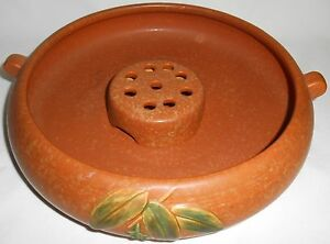 Weller-Pottery-TWO-PIECE-BOWL-w-FLOWER-FROG-SET-Arts-amp-Crafts-CORNISH-PATTERN