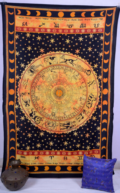 Horoscope Tapestry Indian Zodiac Astrology Twin Wall Hanging Hippie Bedspread