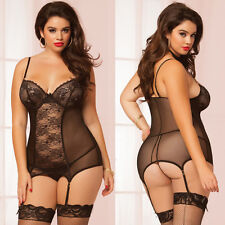 Plus Size Lingerie One Size Queen Lace and Mesh Chemise and Thong  STM10517X