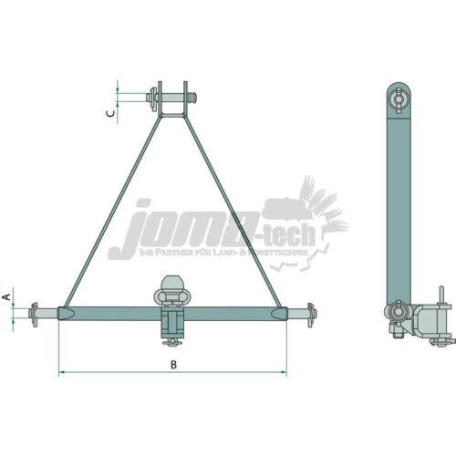 Anhängekupplung Ackerschiene Kat 812mm 2 Dreipunktaufhängung Verdrehschutz