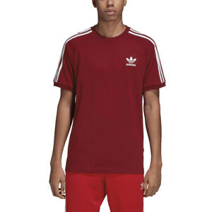 Details about Adidas Originals Men's 3-Stripes T-Shirt Burgundy-White dh5810