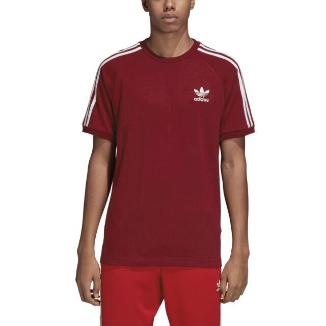 Adidas Originals Men's 3-Stripes T-Shirt Burgundy-White dh5810