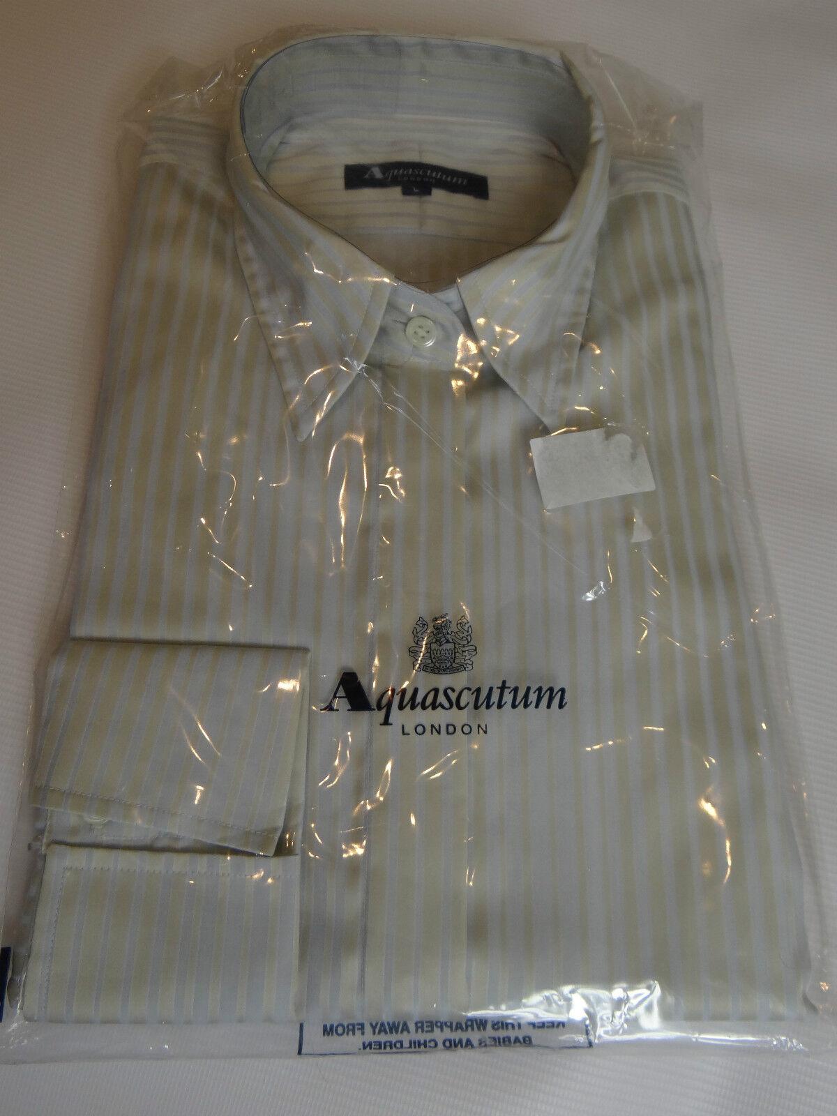 AQUASCUTUM striped cotton shirt blouse Größe M BNWT in packaging
