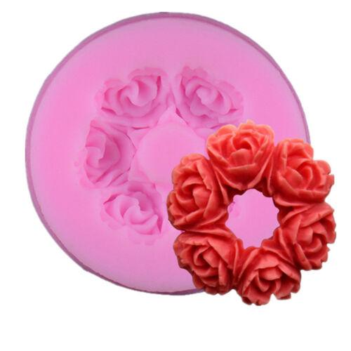 Round Roses Wreath Silicone Fondant Mold Chocolate Sugarcraft Cake Topper Decor