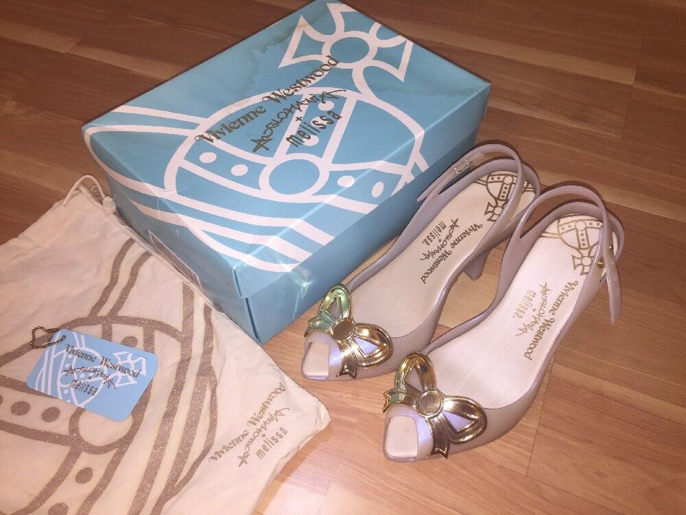 Vivienne Westwood Anglomania Bow Melissa Lady Dragon Pearl ivory Gold Bow Anglomania US 8 34adb6