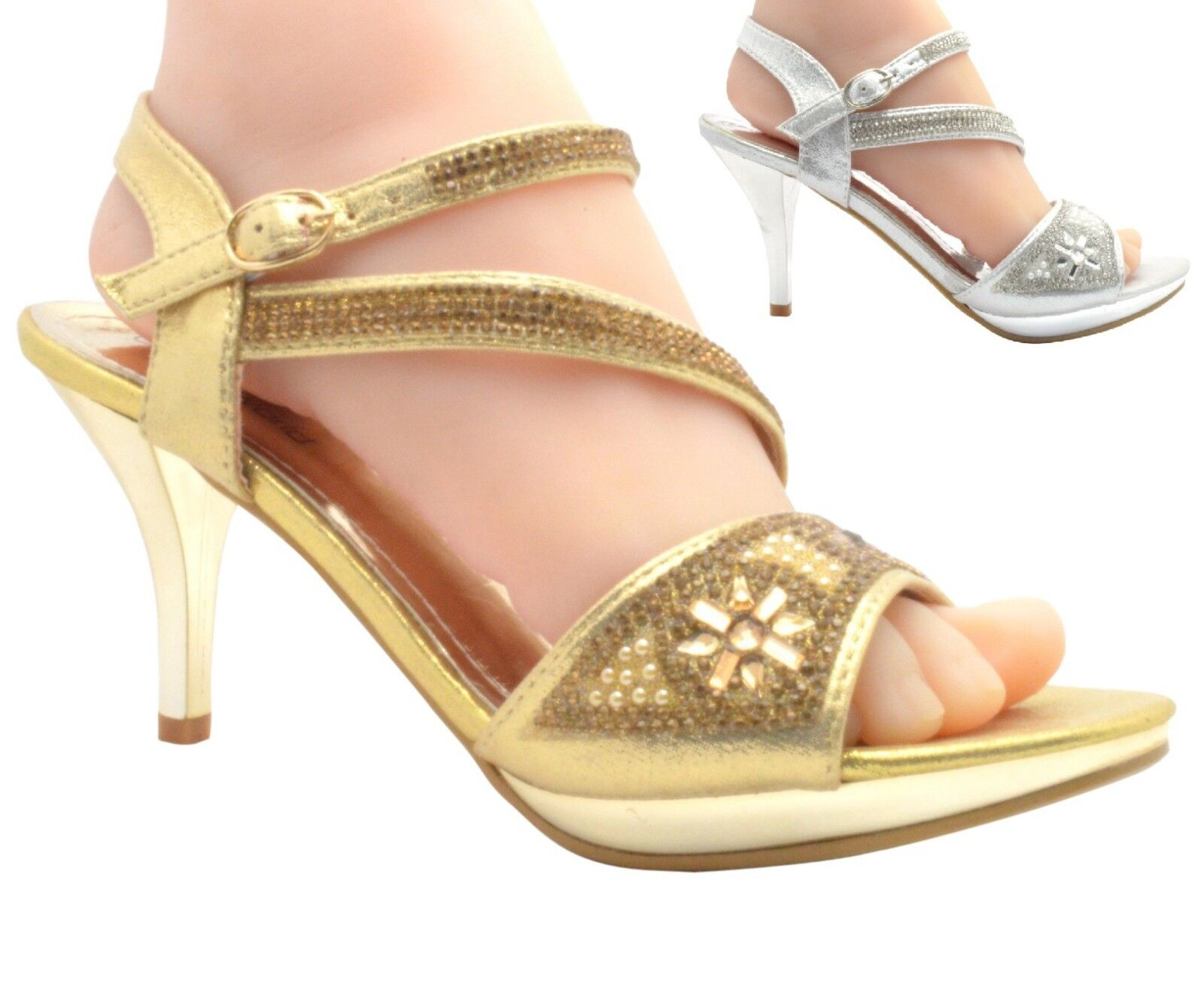 WOMENS LADIES SHOES DIAMANTE HIGH HEEL PROM SHOES LADIES WEDDING BRIDAL EVENING SANDALS 20-10 142a12