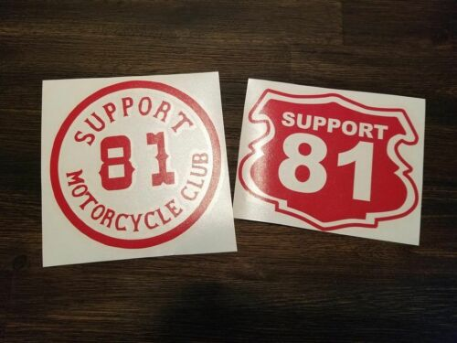 Support 81 Red and White Vinyl decal stickers AC AB biker helmet motorcycle x2