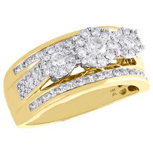 Fiori Gialli A Grappolo.14k Oro Giallo Tre Pietre Grappolo Diamante Fidanzamento Anello