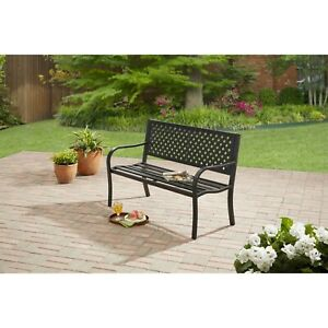 Brilliant Details About Steel Bench Outdoor Relaxing Powder Coated Durable Black Limited Warranty Ocoug Best Dining Table And Chair Ideas Images Ocougorg