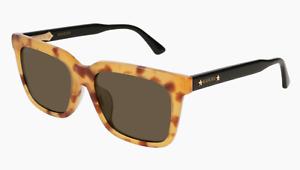 b4f1cf84ad3 Image is loading Gucci-GG0267SA-005-Sunglasses-Yellow-Havana-Black-Frame-