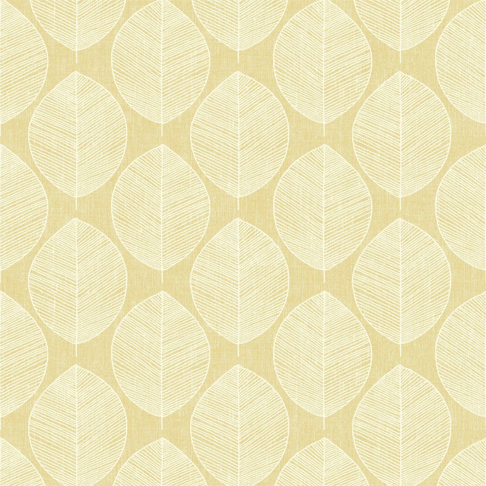 Jaune Scandi Feuille Papier Geometrique Peint Floral Geometrique