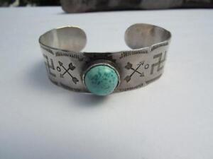 Fred-Harvey-Era-Coin-Silver-amp-Turuqoise-Handstamped-Navajo-Cuff-Bracelet-23-7-gr