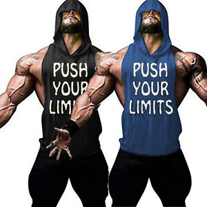 Men-039-s-Gym-Muscle-Fitness-Workout-Bodybuilding-Print-Sleeveless-Hoodies-Tank-Tops
