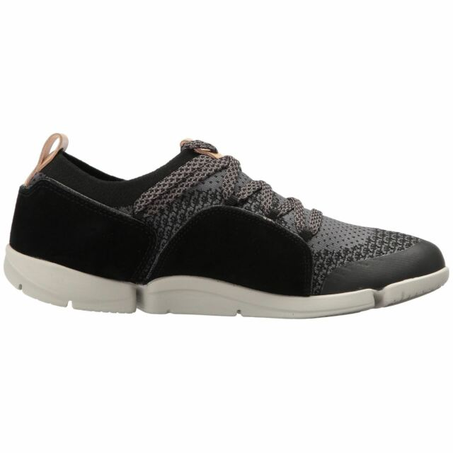 863e9bab71ecb Clarks Tri Amelia Black Combi Womens Knit Suede Athletic Trainers