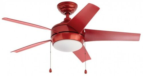 LED Indoor RED Ceiling Fan With Light Kit Frosted White Bowl Windward 44 in