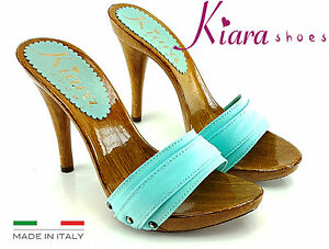 nuova collezione ed35f 2ef85 Details about Clogs Emerald Kiara shoes-heel 12 cm-Made in Italy 35 to  42-km7101- show original title