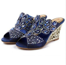 a5013052b69 Womens Rhinestone Flower High Wedge Heel Dress Platform Jeweled Evening  Sandals