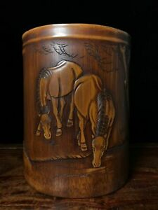 """7"""" Chinese antique bamboo carving wood handcarved two Horses Pen container"""