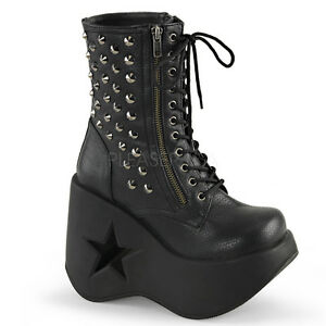 Gothic-Punk-Cyber-Rock-Metal-Black-Platform-Ankle-Combat-Boots