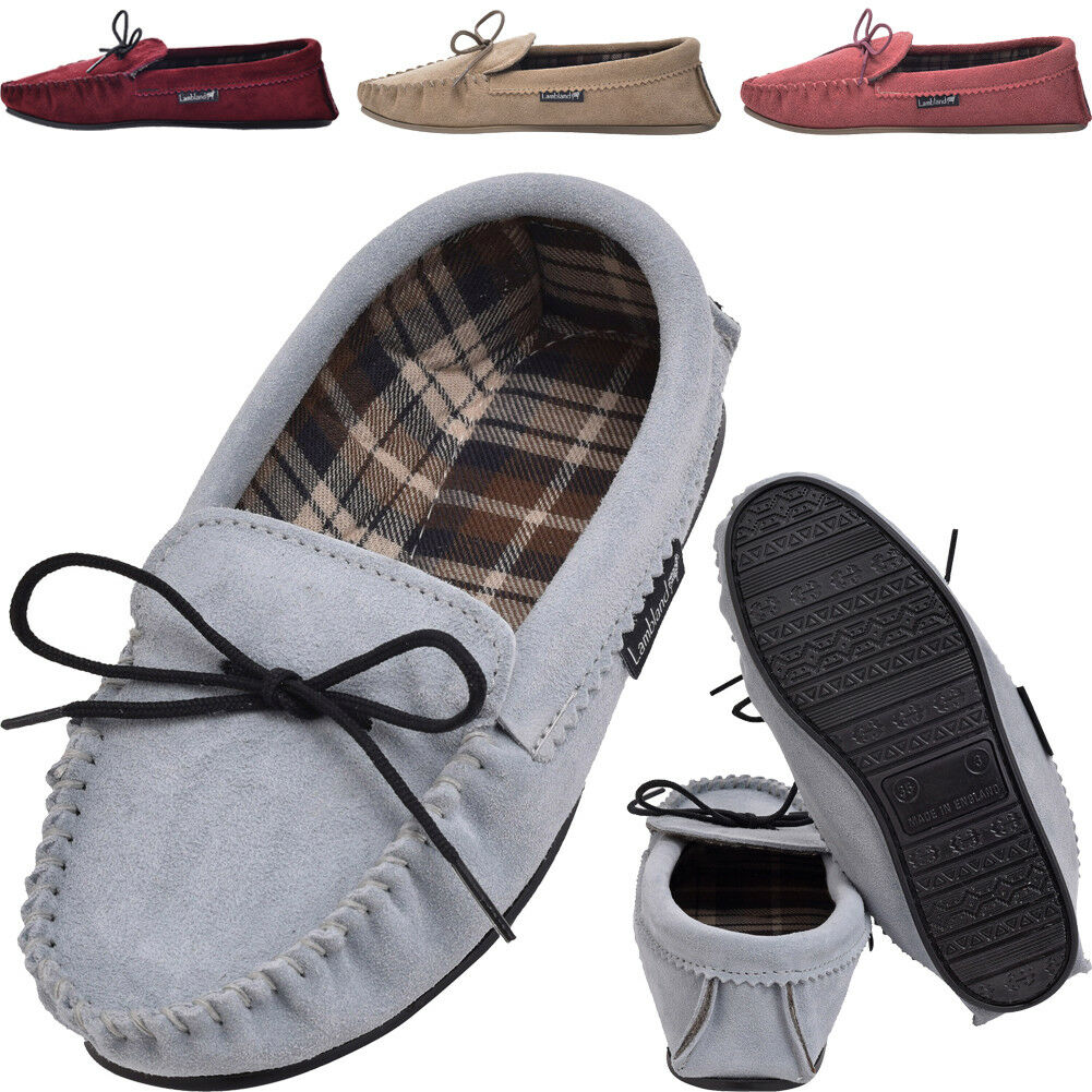 Lambland Ladies Sheepskin Suede Moccasin Slippers with Cotton Lining - PVC Sole
